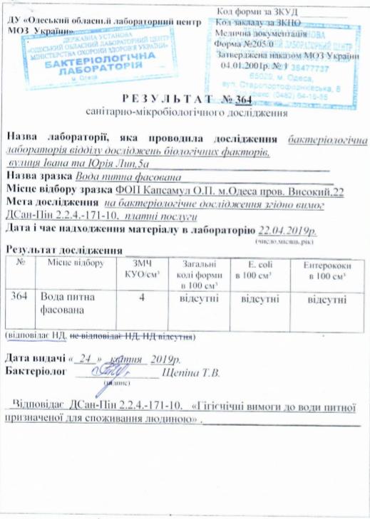 Результат санітарно-мікробіологічного дослідження - Waterclub.od.ua