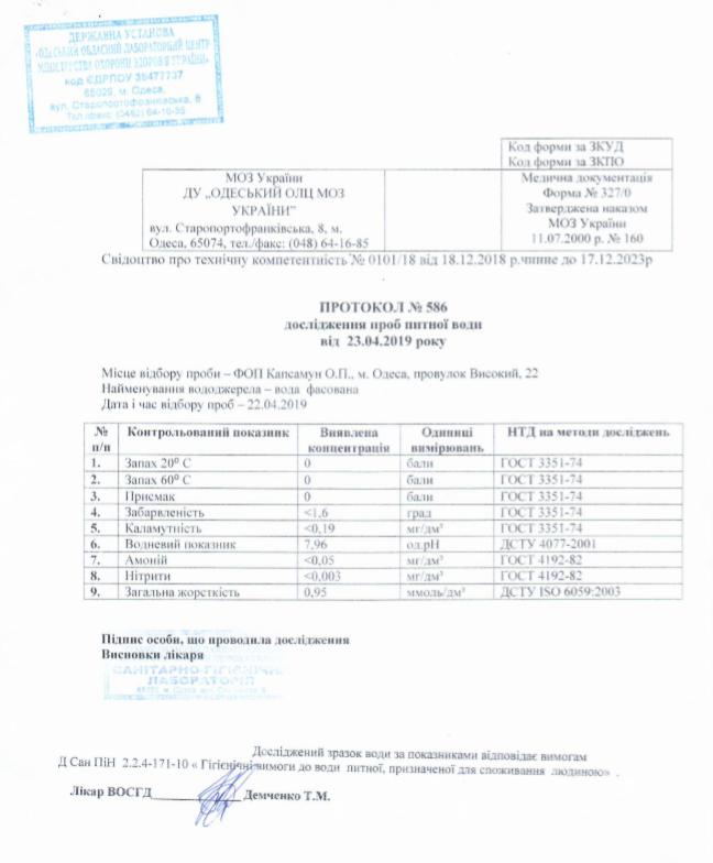 Протокол дослідження проб питної води- Waterclub.od.ua
